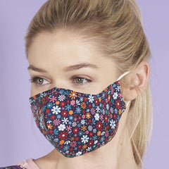 Reusable washable Face Mask Black Ditsy Floral
