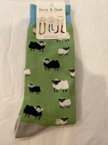 Bamboo Socks size  7-11 in Green with sheep pattern.