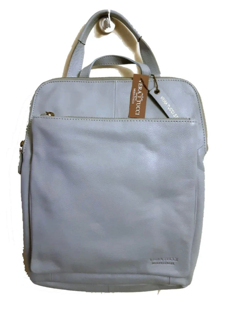 Soft Leather Rucksack Bag Pale Blue