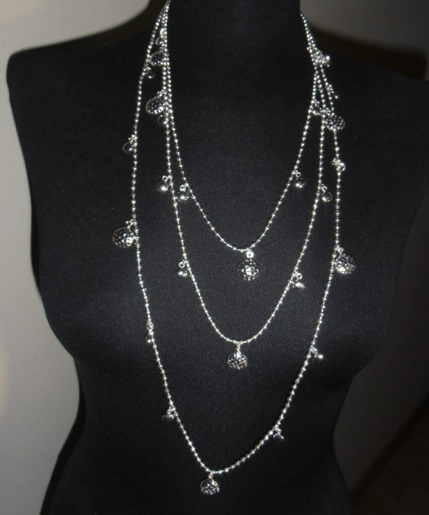 Long Triple Beaded Chain Necklace