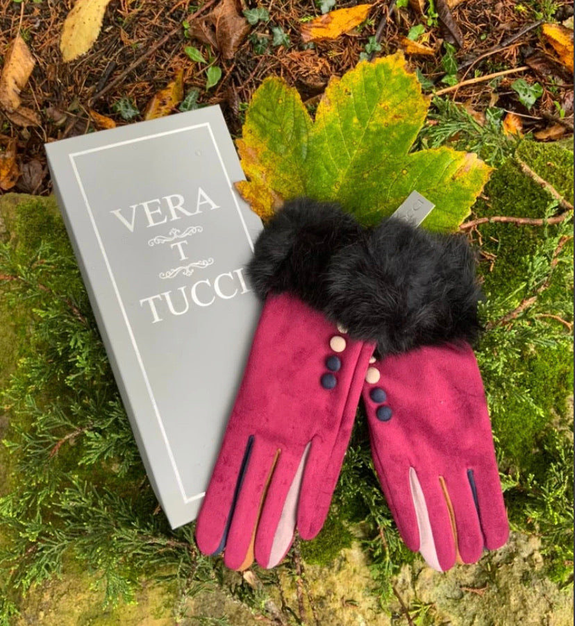 Vera T Tucci Boxed Gloves - Fur Trim in Berry Red