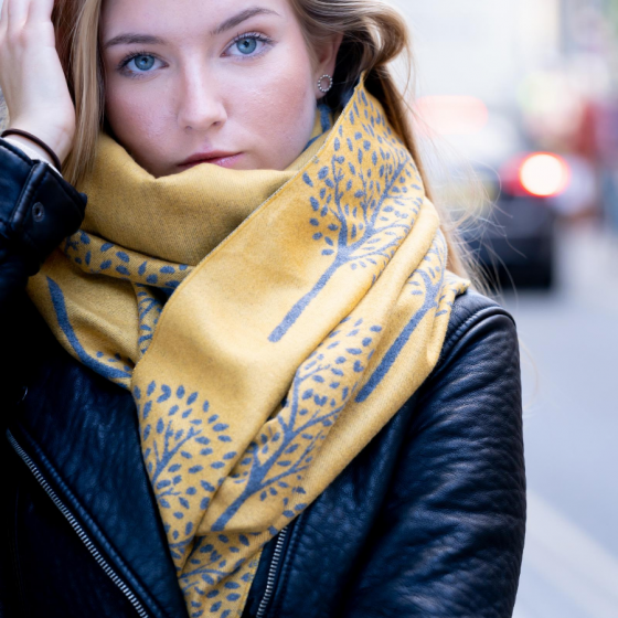 Mulberry Tree Winter Scarf - Grey/Mustard