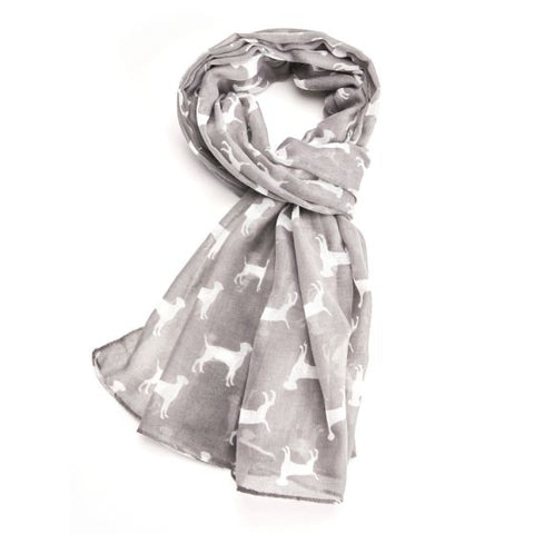 Dogs Scarf in Grey