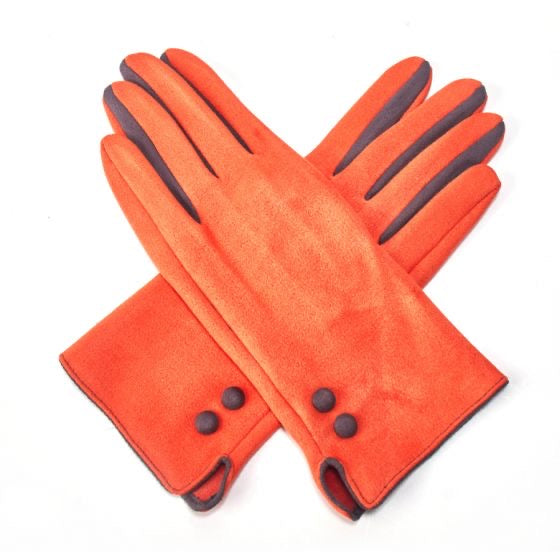 Gloves -  Orange SUEDE gloves with Grey Detailing