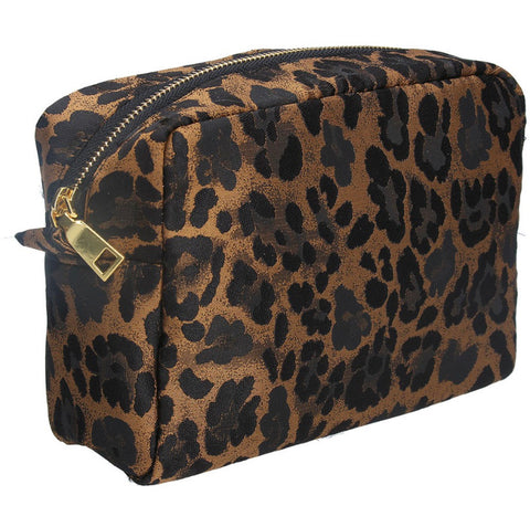 Cosmetic Pouch 23cm - Copper Leopard Print