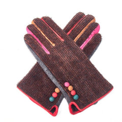 Gloves - MUSTARD Woollen gloves with button detailing and multi-coloured finish