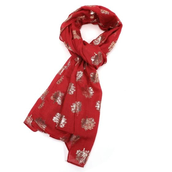 Rose Gold Oak Tree Scarf - Maroon