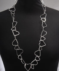 Long Cascading Linked Hollow Hearts Silver Necklace