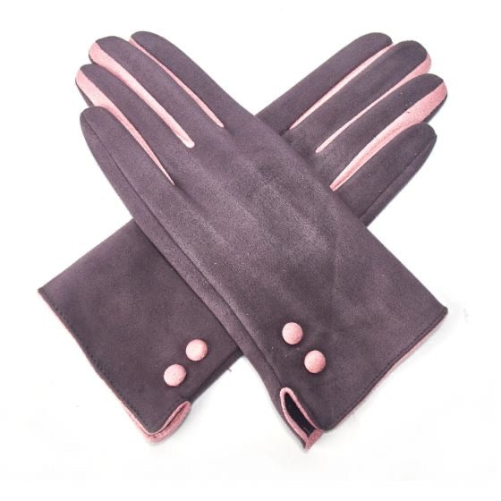 Gloves -  Grey SUEDE gloves with Pink Detailing