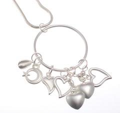 Long Pendant Necklace with Cascading Hearts
