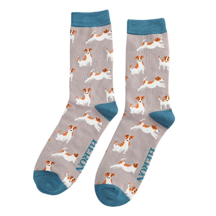 Mr Heron Jack Russels Bamboo Socks Taupe