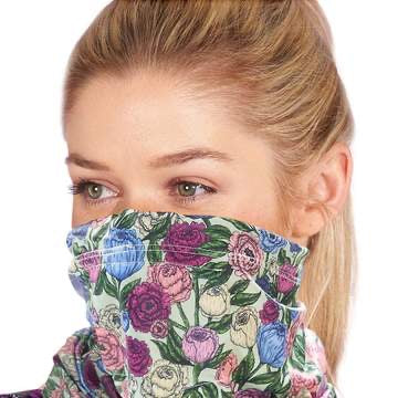 Reusable washable Face SNOOD Green Floral
