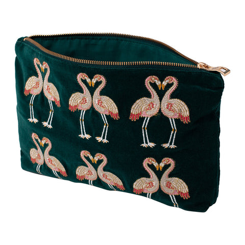 Elizabeth Scarlett Flamingo Velvet Travel Pouch - Green