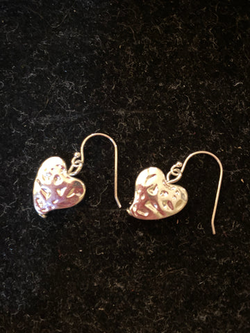Beautiful hammered heart design silver plate earrings with open hook fixing