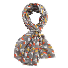 New Spring Season Scarf - Grey Leaves