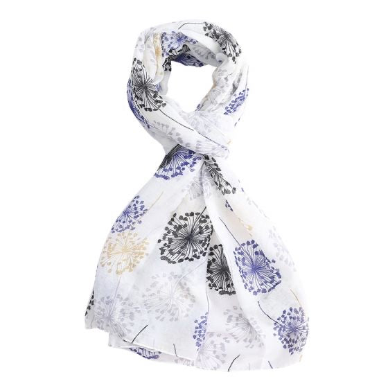 Watercolour Dandelions Scarf White