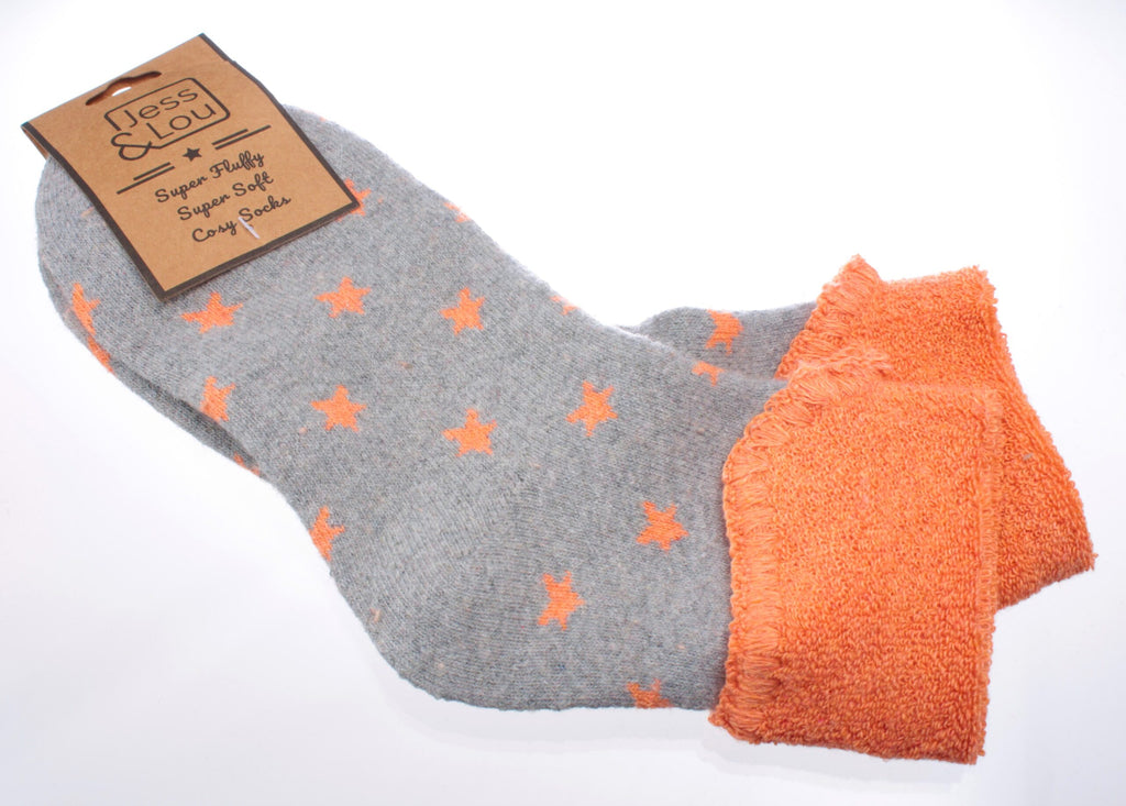 Cosy Toes Grey w Orange Stars