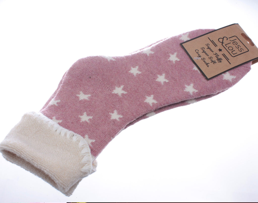 Cosy Toes Pink with White Stars