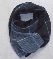 Super Waffle Scarf with 2 Tone Grey Check