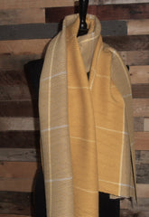 Super Waffle Scarf with 2 Tone Mustard/Taupe Check