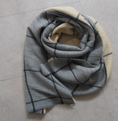 Super Waffle Scarf with 2 Tone Grey/Cream Check