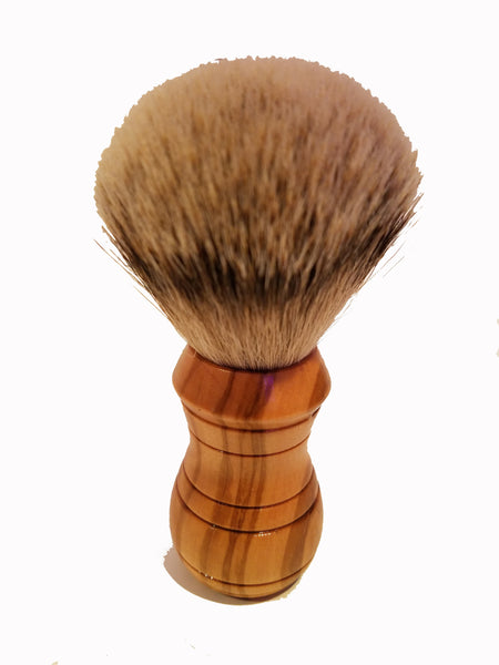 Shave Brush - Olive Wood & Silver Tip Badger Hair