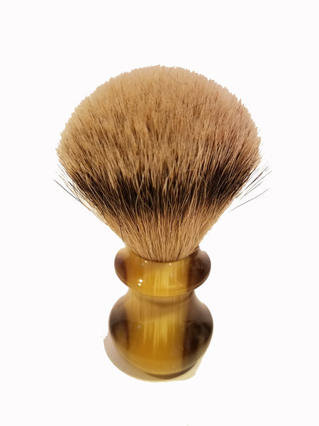 Shave Brush - Faux Ox Horn & Silver Tip Badger Hair