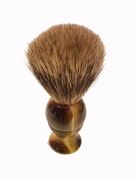 Shave Brush - Faux Ox Horn Handle 2 & Silver Tip Badger Hair