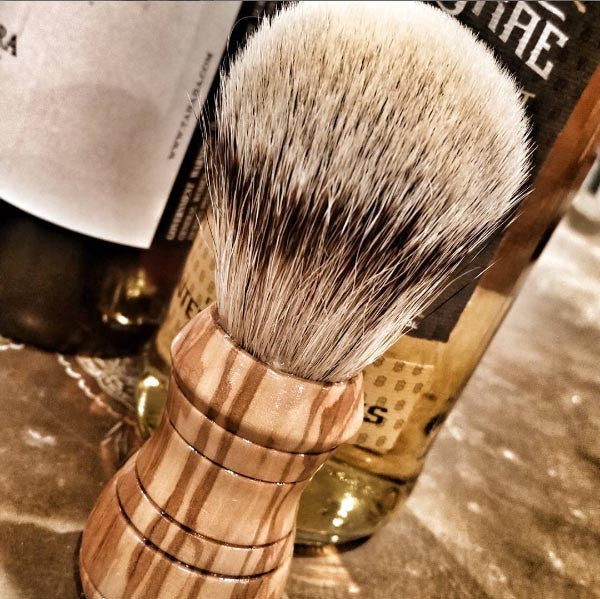 Crusader Shave Brush - Olivewood & Silvertip Badger