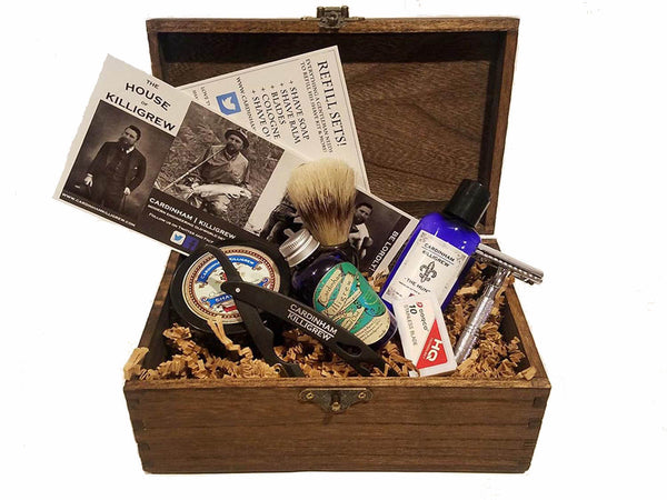 Wood Wet Shave Kit with Shavette Straight Razor
