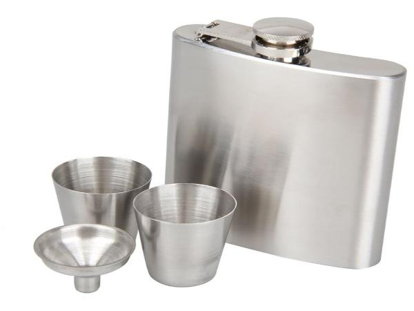 7oz Hip Flask Stainless Steel Wine + Funnel Drinkware Set