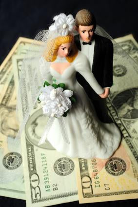 Bride and Groom Cake Topper on top of money - Love Wedding Shop