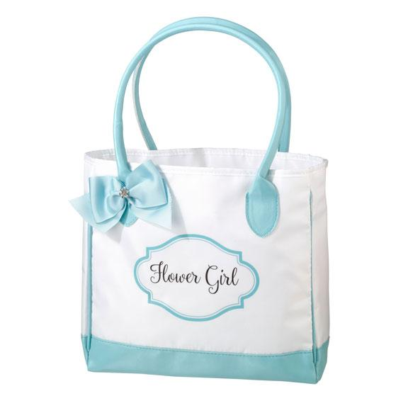 Aqua and White Flower Girl Tote Bag - Love Wedding Shop