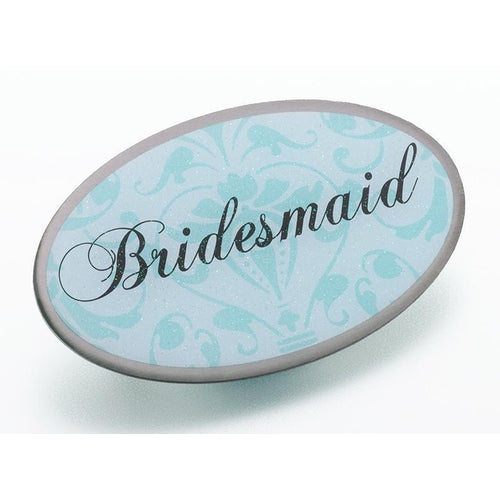 Oval Aqua Bridesmaid Pin - Love Wedding Shop