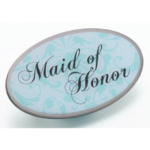Aqua Oval Maid of Honor Pin - Love Wedding Shop