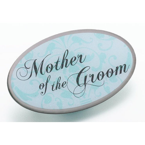 Oval Aqua Mother of the Groom Pin - Love Wedding Shop