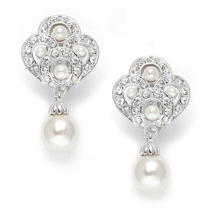 Art Deco Cubic Zirconia and Pearl Drop Wedding Earrings - Love Wedding Shop