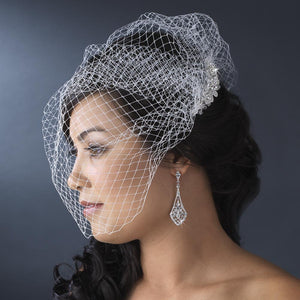 Bride Wearing Birdcage Veil with Rhinestone and Crystal Comb - Love Wedding Shop