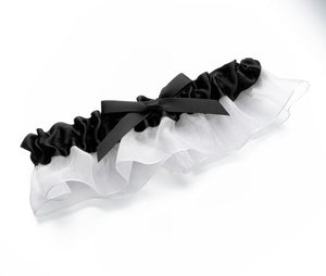 Black Satin and White Chiffon Wedding Garter - Love Wedding Shop