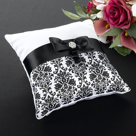 Black Damask Ring Bearer Pillow - Love Wedding Shop
