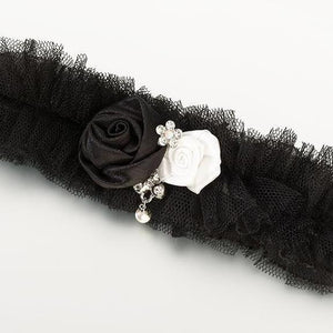 Black Tulle Wedding Garter with Satin Roses - Love Wedding Shop