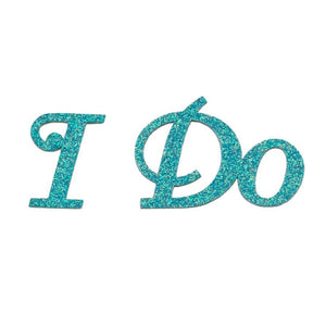 "Blue Glitter ""I Do"" Shoe Stickers - Love Wedding Shop"