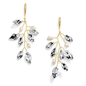 Gold Crystal and Freshwater Pearl Vine Wedding Earrings - Love Wedding Shop