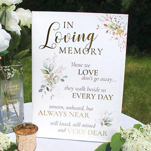 Botanical In Loving Memory Wedding Sign on Table  - Love Wedding Shop
