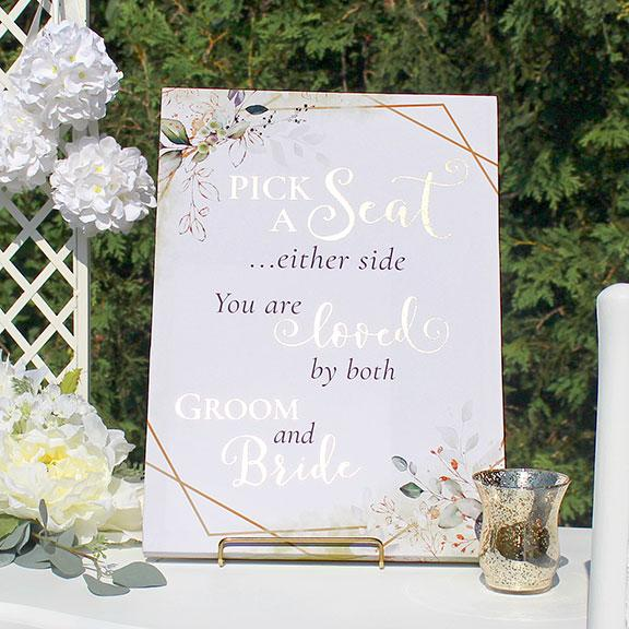 Botanical Theme Ceremony Seating Sign - Love Wedding Sign