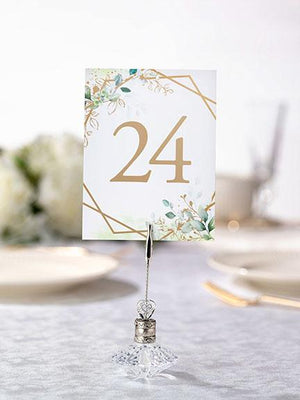 Botanical Themed Table Number Card in Holder - Love Wedding Shop