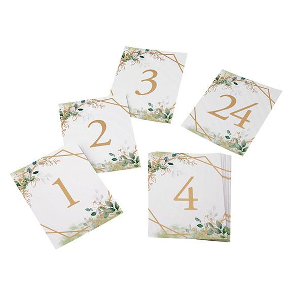 Set of 24 Botanical Themed Table Number Cards - Love Wedding Shop