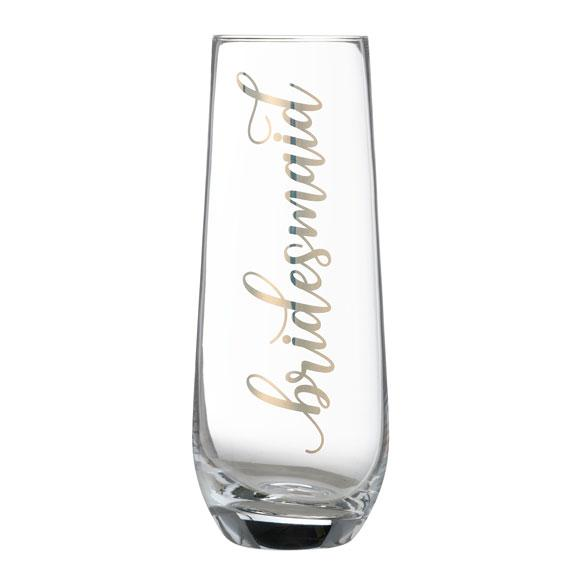 Bridesmaid Stemless Champagne Flute with Gold Script Lettering - Love Wedding Shop