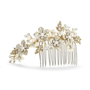 Brushed Gold and Ivory Pearl Wedding Comb - Love Wedding Shop