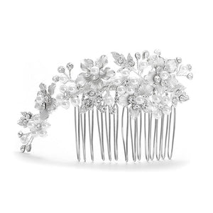 Brushed Silver and White Pearl Wedding Comb - Love Wedding Shop